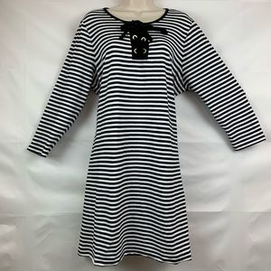 Michael Kors black and white stripe lace up dress